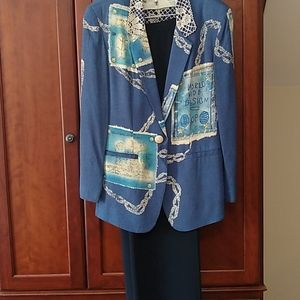 Navy pants suit with nautical jacket